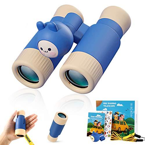 2 IN 1 Kompaktes Kinderferngla, Fernglas für Kinder, KNMY Wasserdicht Monokulare Fernglas für Jungen Mädchen, 2 HD Starke Vergrößerung Leichtes Teleskop Geschenk Spielzeug mit Umhängeband
