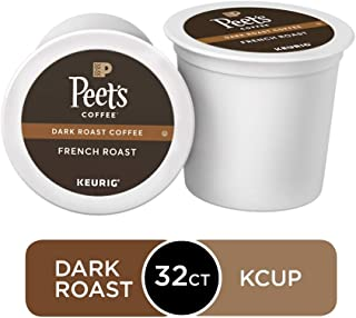 Peet's Coffee French Roast, Dark Roast, 32 Count (Pack of 1) Single Serve K-Cup Coffee Pods for Keurig Coffee Maker