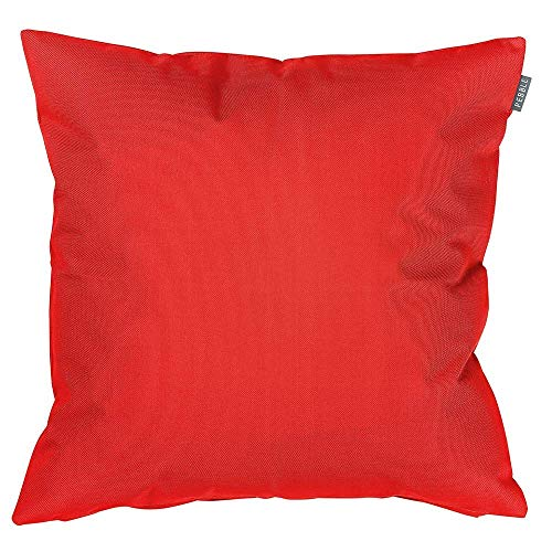 Bean Bag Bazaar Outdoor Cushion, 2 Pack, Red, 43cm, Fibre Filled Decorative Water Resistant Scatter Cushions for Garden Chair or Patio Furniture Bench Sofa