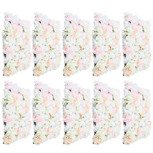 10 piezas de pared de flores artificiales, pared de rosas, fondo de boda, 40 x 60 cm, decoración de pared de flores