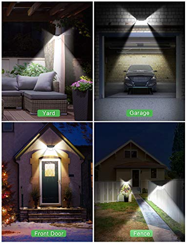 Pathinglek 310 LED Outdoor Solar Lights 4 Packs, 2021 Upgraded Solar Motion Sensor Lights IP65 Waterproof Wireless Solar Wall Light with 3 Lighting Mode 270°Wide Angle for Yard Garage Fence Deck