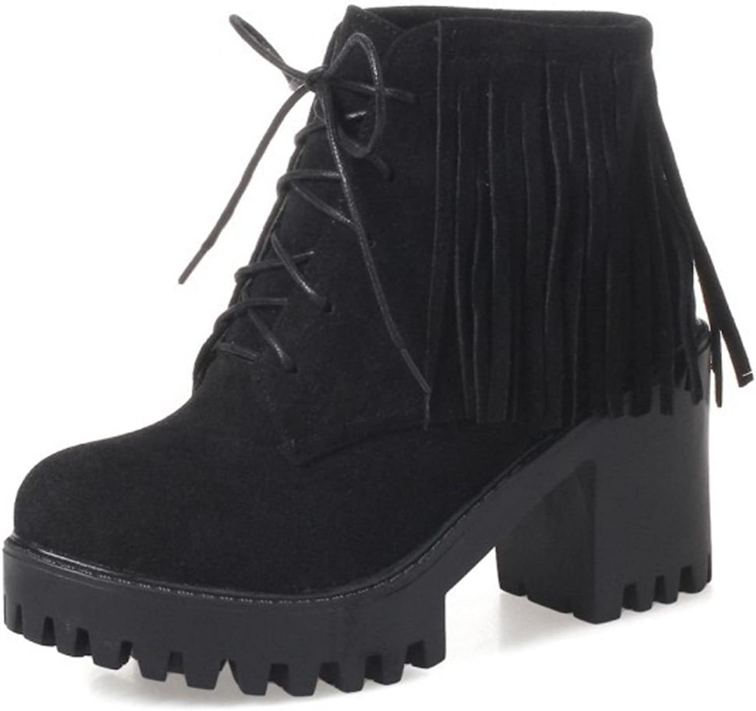 CarziCuzin Women Classic Chunky Heel Ankle Boots with Fringe