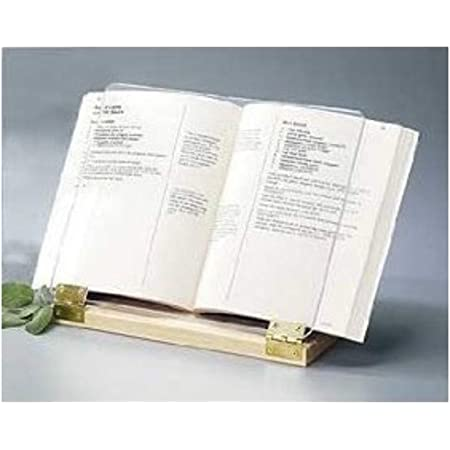 Original Hinged Cookbook Holder - Acrylic Shield With Wood Base and Brass Plated Hinges - Made in the USA