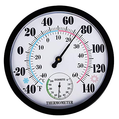 PandaCoCo 10' Indoor Outdoor Weather Thermometer/Hygrometer for Patio, Wall Decorative, No Battery Needed