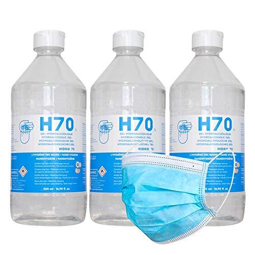 Gel Hidroalcohólico Higienizante manos 3 x 500 ml. 70% Alcohol con Aloe Vera + Regalo Protector Desechable (Total 1500 ml.)