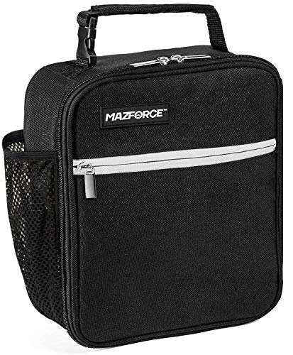 MAZFORCE Original Lunch Box Insulated Lunch Bag - Tough & Spacious Adult Lunchbox to Seize Your Day (Force Black - Lunch Bags Designed in California for Men, Adults, Women)
