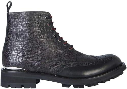 Alexander McQueen 575433WHSZ21081 Bottines en Cuir Noir