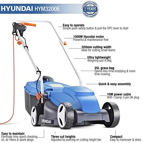 Hyundai HYM3200E 32cm Lightweight Rotary, 320mm Cutting Width 1000w Electric Lawnmower, 25L Grass Bag, Corded Lawn Mower…