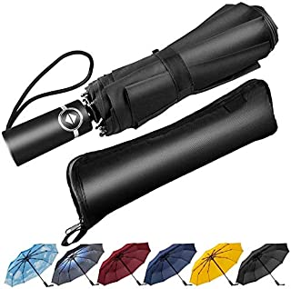 Newdora Windproof Travel Folding Umbrella Golf Umbrella Auto Open Close Button and Upgraded Handle, Lightweight 10 Ribs Automatic Windproof Canopy Compact with Light Reflective-Gift Waterproof Bag