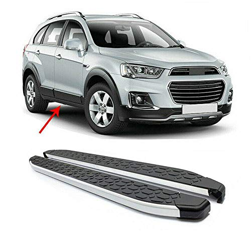 Edelstahl Aluminium Trittbretter Kompatibel mit Chevrolet Captiva 2016-2021 Seitenschweller Aerodynamik Funktional Schwarz