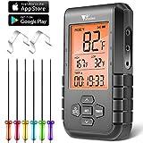 amzdeal Termometro per Barbecue Wireless Bluetooth 5.0, Termometro per Carne con 6 Sonde, ...