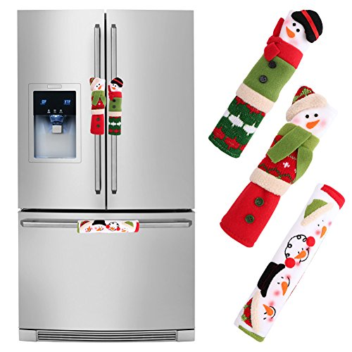 OurWarm Christmas Fridge Handle Covers Set of 3, Adorable Snowman Kitchen Appliance Handle Covers Microwave Oven Or Dishwasher Handle Covers Protector for Christmas Decorations