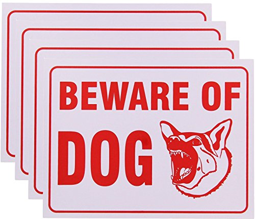 RAM-PRO Beware Of Dog Sign 9 x 12 Inch - 4 Pack