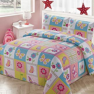 Luxury Home Collection 2 Piece Twin Size Quilt Coverlet Bedspread Bedding Set for Kids Teens Girls Patchwork Butterfly Flower Pink Yellow White Blue Green Purple (Twin Size)
