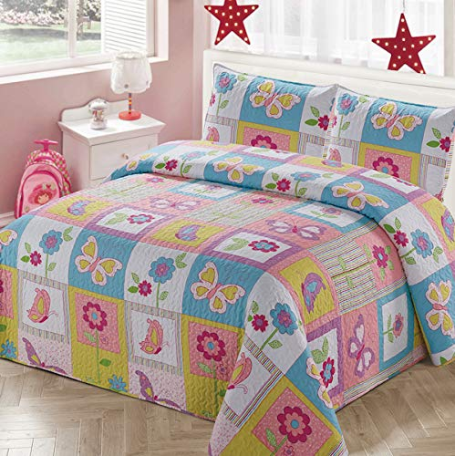Luxury Home 3 Piece Full/Queen Size Collection Quilt Coverlet Bedspread Bedding Set for Kids Teens Girls Patchwork Butterfly Flower Pink Yellow White Blue Green Purple