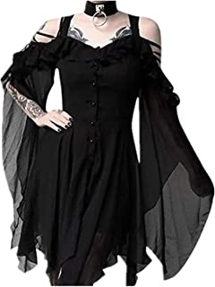 TWGONE Plus Size Gothic Dresses for Women Special Occasion Dark in Love Ruffle Sleeves Off Shoulder Midi Dress