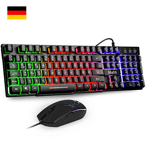 Mafiti RK101 Gaming Tastatur und Maus Set, Office Tastaur, LED Hintergrundbeleuchtung QWERTZ (DE-Layout), Regenbogen Farben Beleuchtete USB Wasserdicht Tastatur und Maus für Gaming und Büro