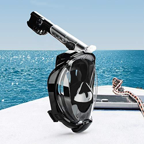 Hengda Máscara de buceo plegable de cara completa Snorkel con soporte para cámara y campo de visión antivaho de 180 ° para Unisex Adultos Pequeño/Medio Negro