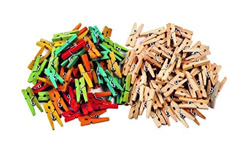 Creation Station Lot de 200 mini-pinces à linge en bois Coloris assortis et naturels