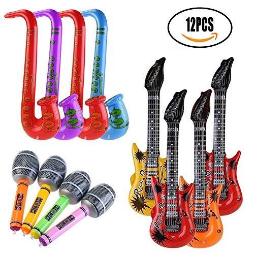 SMUER 12PCS Gonfiabili Chitarra Sassofono Microfono Palloncini Strumenti Musicali Accessori per Feste Forniture per Feste Palloncini Colore Casuale