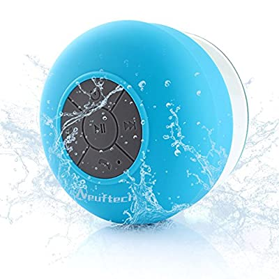 Neuftech Mini Portable Waterproof Wireless Bluetooth Stereo Shower Speaker with Suction Cup and Built-in Mic Bluetooth 3.0 (Blue) by Neuftech