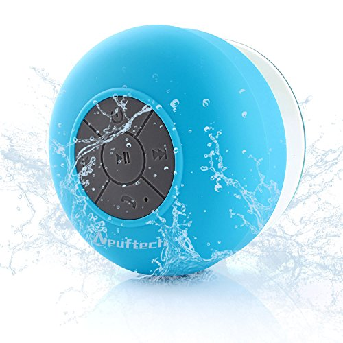 Neuftech Wasserdicht Bluetooth 3.0 Lautsprecher für Handy iPhone 7 6S 6Plus 6 5S 5C 5 4S ipad Samsung Galaxy Note 5 S7 S6 S5 S4 S5 - wireless Speaker mit Saugnapf und Mikrofon für Outdoor,Dusche,Küche,Büro,Schwimmen- Blau