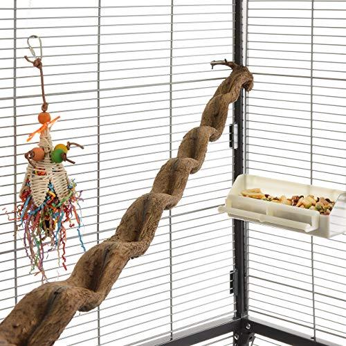 HappyBird ® | Natur Klettersitzstange Liane 90-100cm für Papageien / 2,5-5cm breit/Sitzstange für Volieren und Käfige
