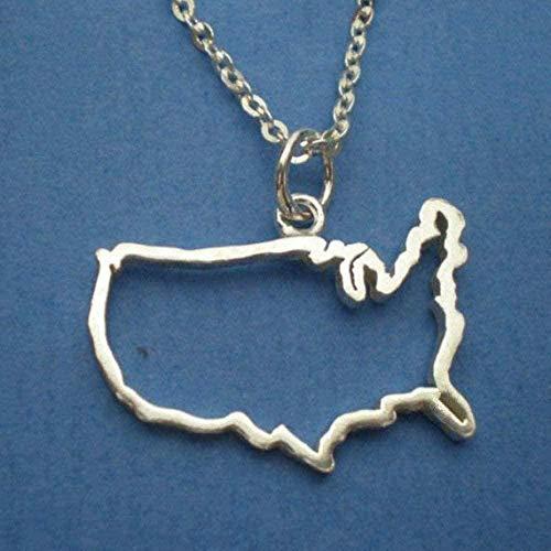 BEISUOSIBYW Co.,Ltd Collar Regalos Moda Collar con Contorno de país Estado de Texas África Israel Australia Francia Siria Irlanda Jamaica Barbados Nigeria Puerto Rico Mapa del Mundo Collar
