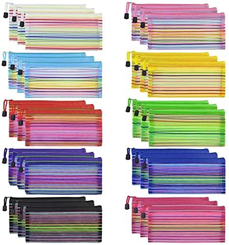 Ghlevo 30 Bolsas de Cremallera de Malla Bolsas de lápiz Bolsas de Malla multifuncionales para almacenar papelería y Suministros de Oficina, Aproximadamente 23x11cm