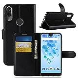 ECENCE Handy-Schutzhülle - Handytasche für Wiko View 2 Pro Schwarz - Smarthone Case Cover stoßfest mit Kartenfach - Handycase mit Stand-Funktion 14040202