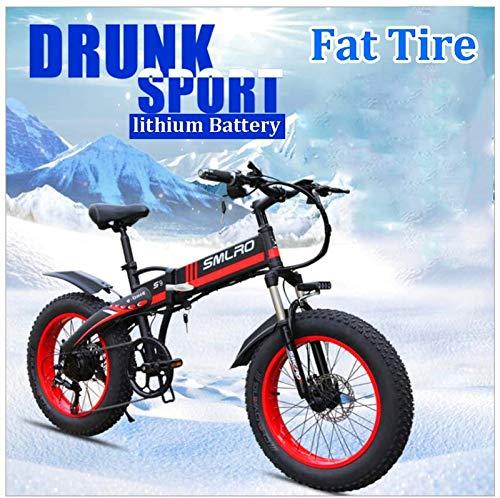 RDJM Bici electrica, De 26 Pulgadas de Nieve for Adultos Bicicleta eléctrica for la Playa y Las montañas de 350W eléctrica Plegable Bicicleta con Pantalla LCD y 48V 10Ah batería extraíble