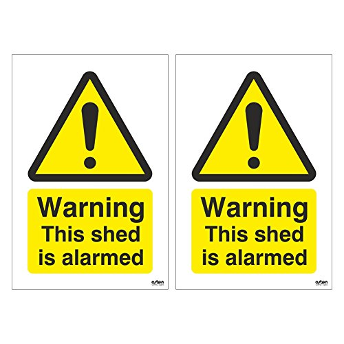 Pack of 2 Warning This shed is alarmed Signs. Deter intruders with these signs. 100mm x 150mm (1mm Thick Rigid Plastic)