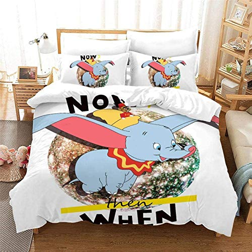 Juego de ropa de cama Dumbo de POMJK, funda de edredón de microfibra, diseño de anime, juego de 3 piezas, regalo para mujer (A02, King220 x 240 cm + (50 x 75 cm) × 2