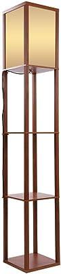 Lampadaire sur Pied en Bois Moderne Lampe sur Pied avec 3 Etagères Idéal pour Salon Chambre et Bureau Hauteur 1,6 M (Marron)