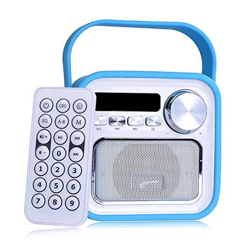 Mini altoparlante Bluetooth, con radio FM, porta USB e telecomando, portatile grazie alla maniglia, jack da 5 W, in stile retrò, di colore verde