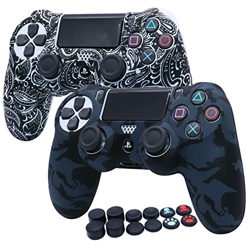RALAN Silicone Rubber Cover Skin case Anti-Slip Water Transfer Customize Camouflage for PS4/SLIM/PRO Controller + FPS PRO Extra Height Thumb Grips x 8 + Paw Grips Caps x 4.