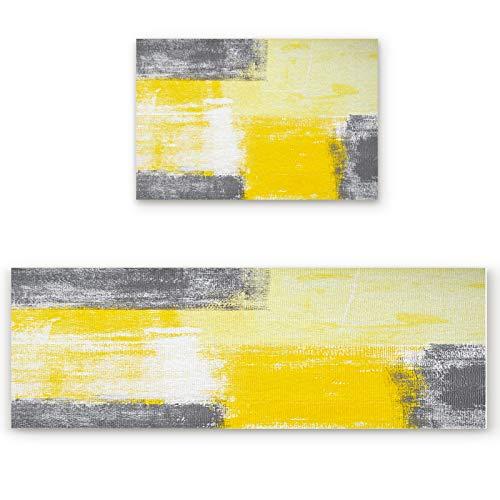 Zadaling Kitchen Rugs Sets 2 Piece Floor Mats Yellow and Grey Modern Art Artwork Doormat Non-Slip Rubber Backing Area Rugs Carpet Inside Door Mat Pad Sets-19.7