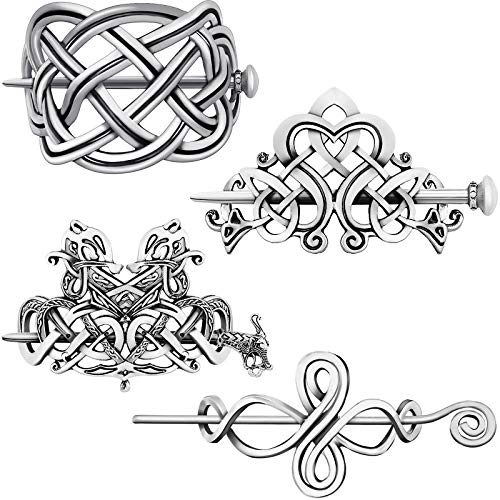4 Pieces Silver Celtic Hair Slide Creative Hair Barrette Vintage Hairpins Hair Accessories Hair Clips for Women Girls