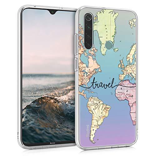 kwmobile Carcasa Compatible con Xiaomi Redmi Note 8 (2019/2021) - Funda de TPU y Mapa Mundial en Negro/Multicolor/Transparente