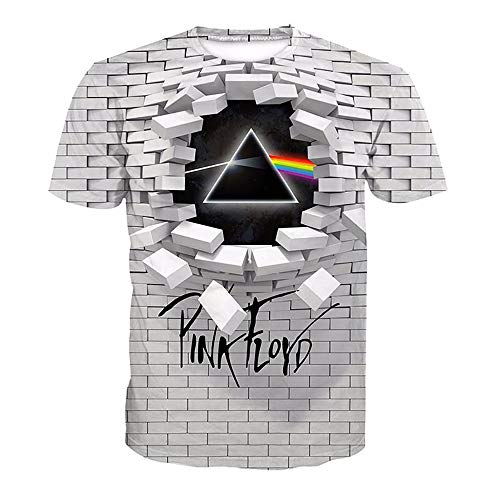 BESIYA JDC012T Series 3D T-Shirt Round Collar Short-Sleeve Tops for Men and Women Pink Floyd Unisex 3D Casual Tees,l