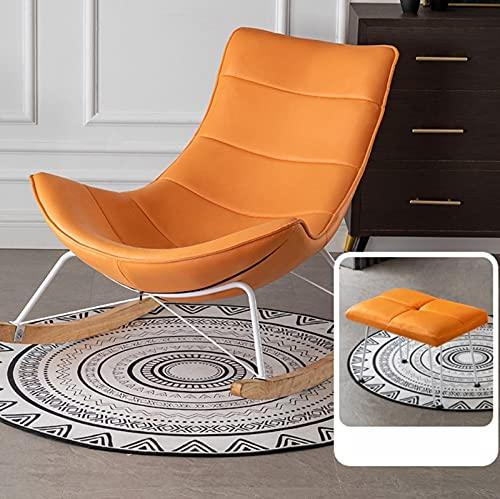 Sillón de balancín, silla relax Lounge de tela, sillón relajante reclinable, espalda de lino, asiento acolchado de felpa, muñeca, algodón, carga de soporte, 300 kg, color naranja