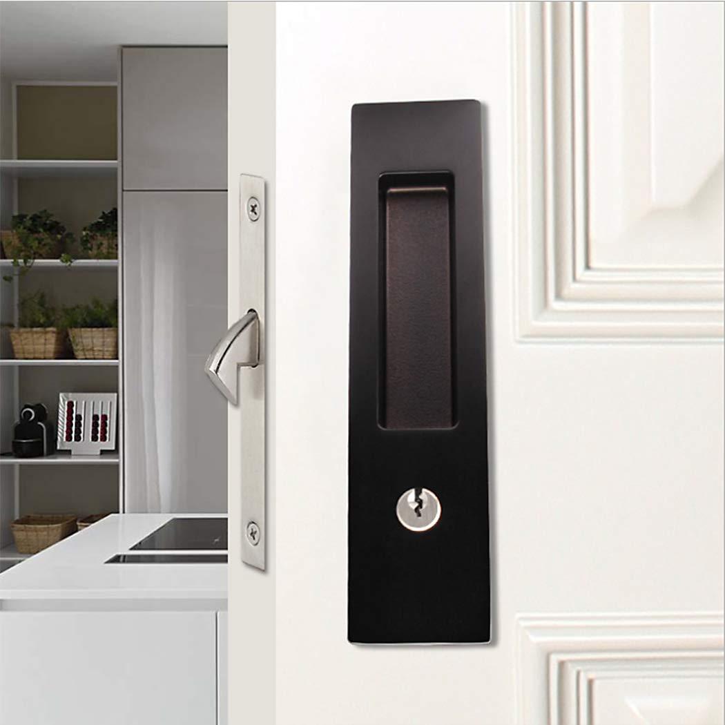 LWZH pestillo de puerta corrediza de granero de 6.3 pulgadas, manija empotrada invisible con 3 llaves, cerradura de puerta de bolsillo interior de madera: Amazon.es: Bricolaje y herramientas