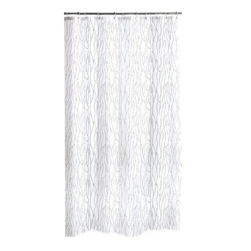 Dynamic24 Duschvorhang 180x200cm Textil Badewannenvorhang mit Glitzerapplikationen (Weiss)