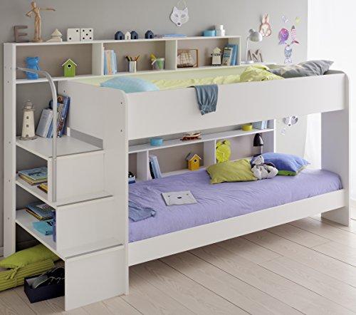 90×200 Kinder Etagenbett Weiß/grau mit Bettkasten Treppe und Geländer - 5
