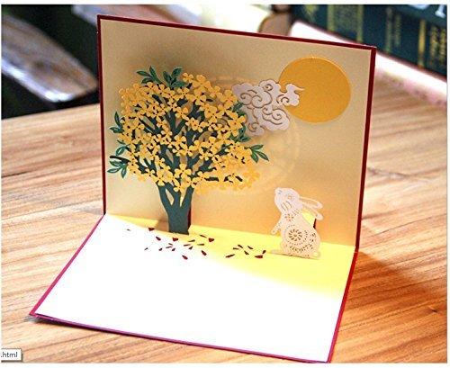 BC Worldwide Ltd Handmade Origami Papier Handwerk Papier Kunst 3D popup pop-up Karte Kaninchen Mond gold grün Baum Wolke Geburtstagskarte Ostern Karte Xmas Weihnachtskarte Grußkarte leere Karte Freundschaft vermissen Sie Thanksgiving-Karte Geschenk für ihn ihre Freund Familie