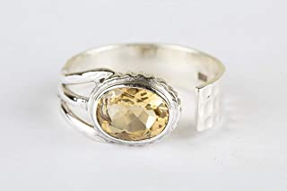 Citrine Gemstone Ring Adjustable Ring 925 Sterling silver Charm Ring Handmade Jewelry For Women's