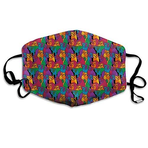 jhgfd7523 Cubierta para la boca de la cara del arco iris cubista gatos lavable cubierta de boca reutilizable bufanda facial bufanda para niños adultos