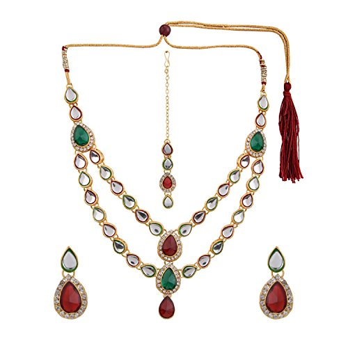 Efulgenz Indian Layered Traditional Bollywood 14 k Gold Plated Faux Kundan Bridal Necklace Earrings Maangtika Wedding Jewelry Set