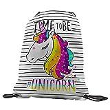 quickgadget Gymback - Bolsa de gimnasia con diseño de unicornio - Bolsa deportiva a la moda, para la piscina, baile o para la escuela para niñas y mujeres, 35 x 45 cm