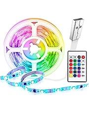Tiras LED 5 Metros USB, HEERTTOGO Luces LED Habitacion RGB 5050 con Control Remoto, 16 Colores y 4 Modos de Escena Se Utiliza para el Hogar, TV, Dormitorio, Decoración de Gabinetes, Fiesta